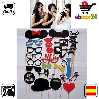 Photo Call Booth Fotocall Atrezzo 31Ud Set Boda Gafas Bigote Foto Fotos...