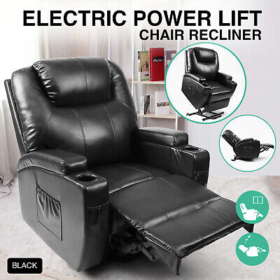 Power Lift Recliner Chairs (Black Electric Power Lift Recliner Chair Elderly Armchair Lounge Seat w/Remote )