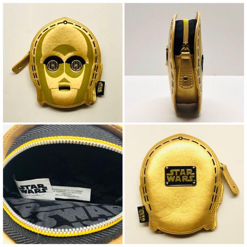 Star Wars C-3PO Head Coin Change Purse Wallet Gold Shiny Loungefly Embroidered