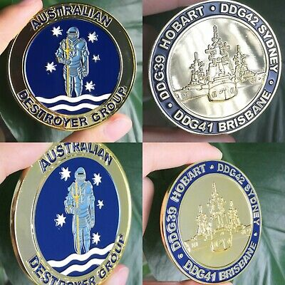 "Royal Australian Navy 2.25"" Challenge Coin HMAS Hobart Brisbane Sydney RAN DDG"