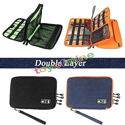 Universal Cable Organizer Electronic Accessories Case USB Drive Double Layer Bag