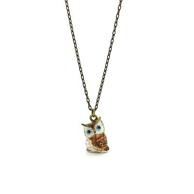 Tiny Barn Owl Bird Charm Necklace, Hand Sculpted/Painted Figurine Bronze Chain ()