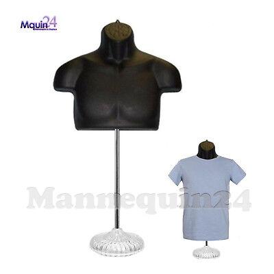 Male Torso Body Dress Form Mannequin Black W Stand Hanging Hook