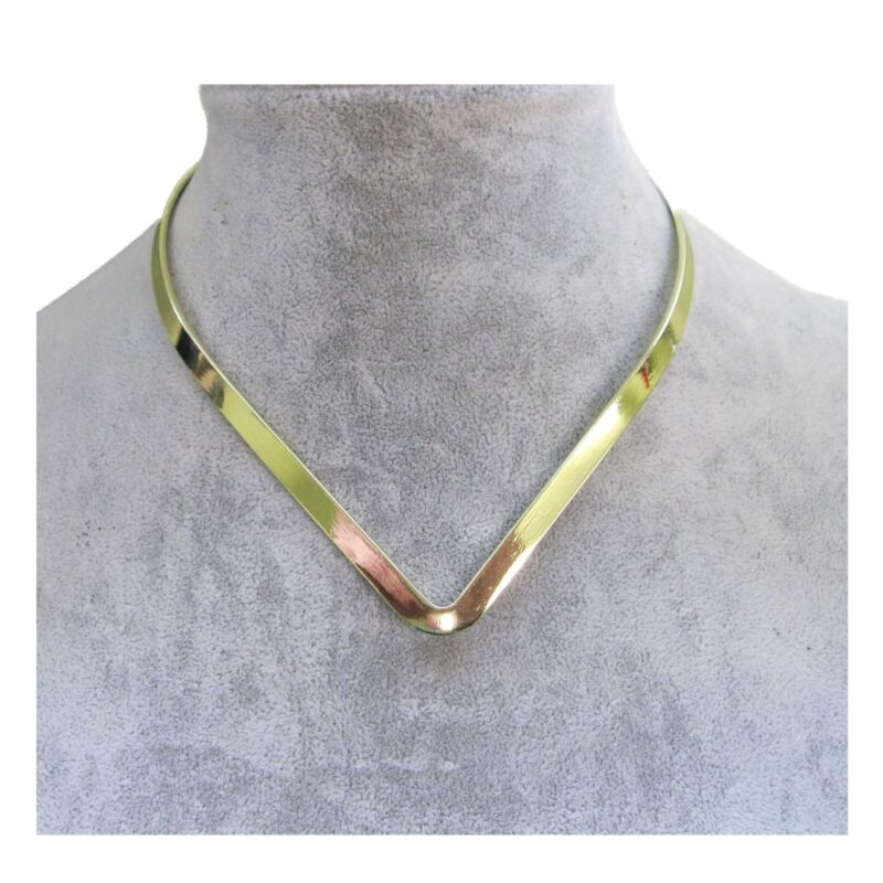 New Shiny Gold Plated V Shaped 6mm Wide Elegant Choker Collar Necklace (CV4)