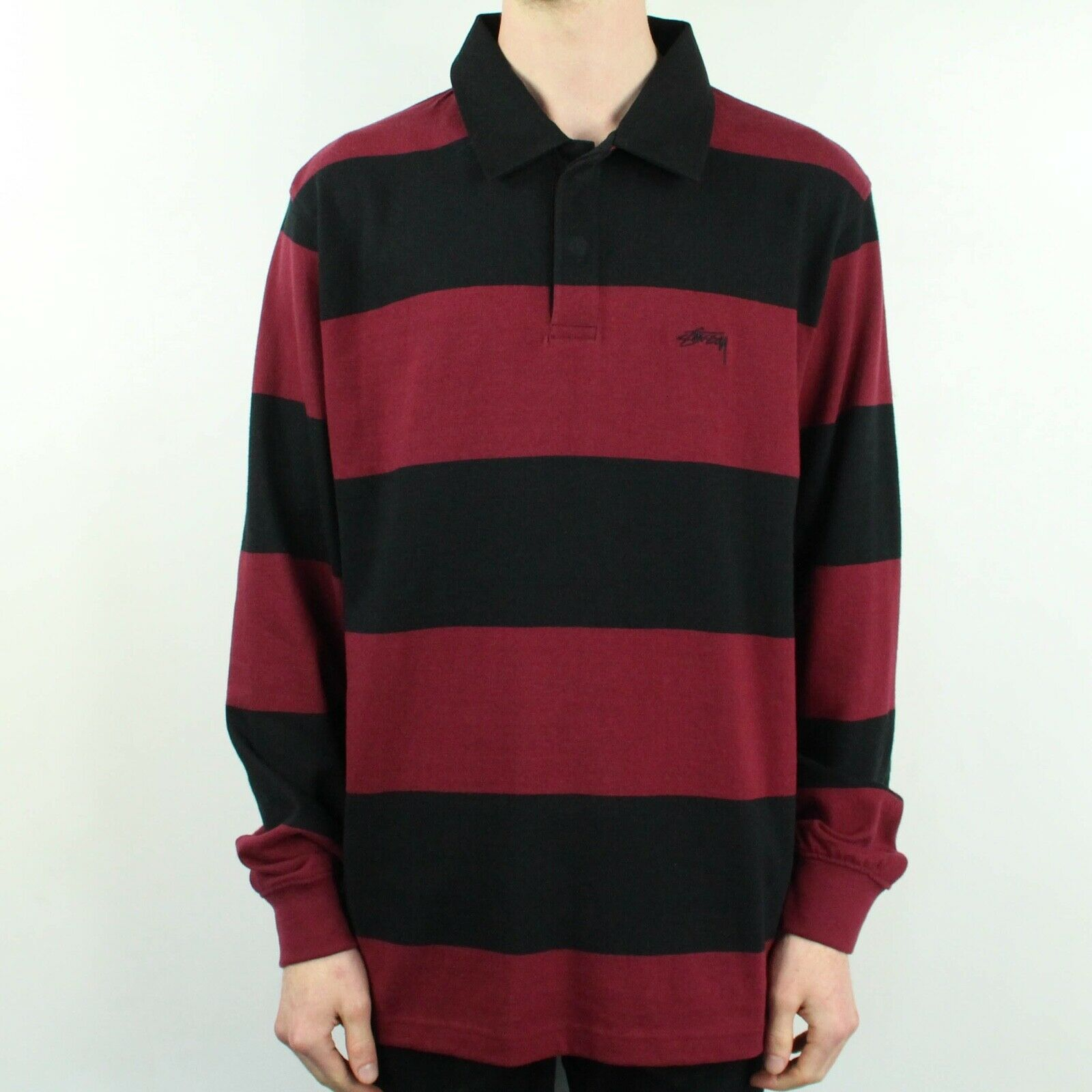 4c31bca467e Details about Stussy Ralphie Stripe Rugby Long Sleeve T-Shirt Top Black in  size S,M,L