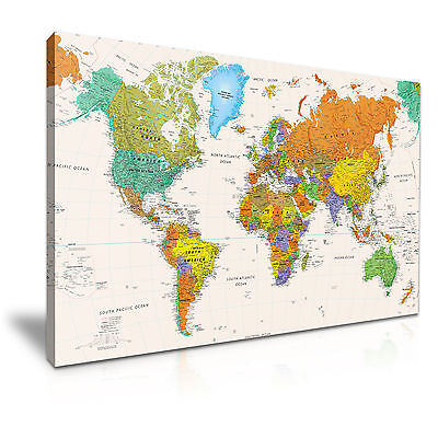 MAP OF THE WORLD Canvas Framed Print Wall Art Room Deco ~ More (Map Framed Print)