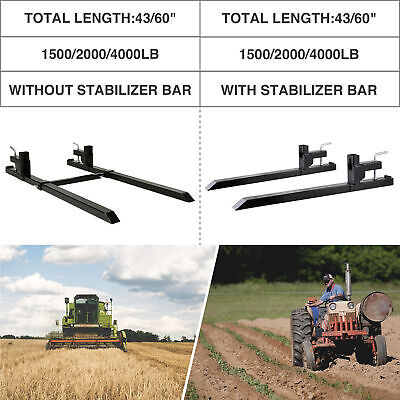 1500lbs 2000lbs 4000lb 43 60 Clamp On Pallet Fork W Adjustable Stabilizer Bar