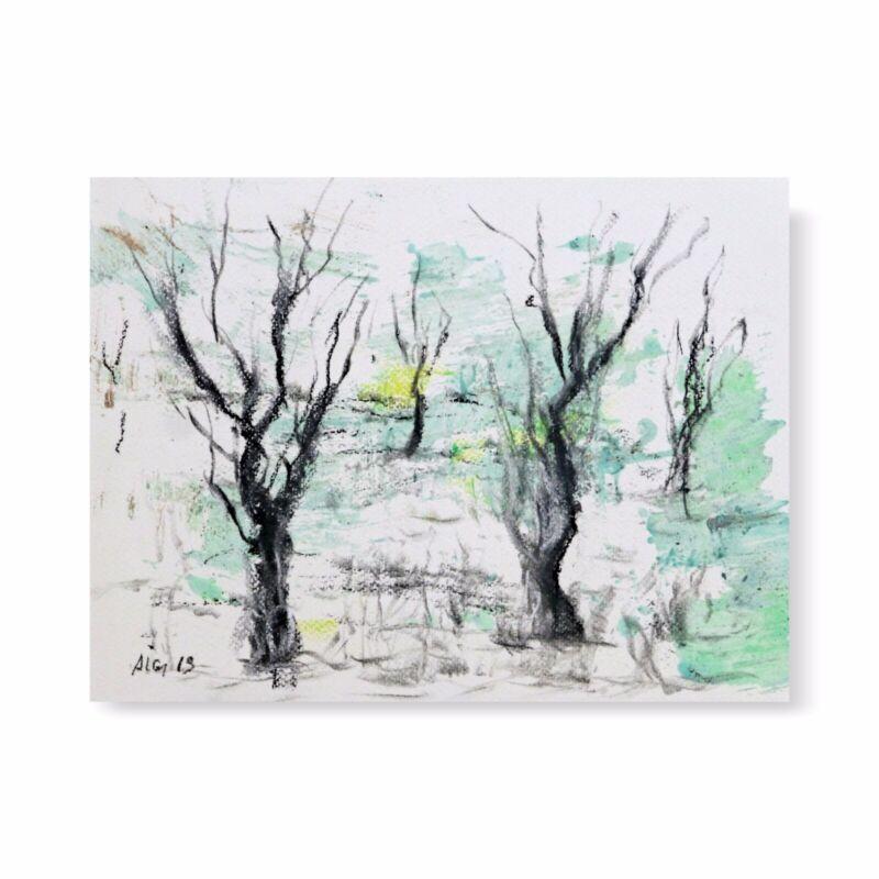 """ZEICHNUNG """"Landschaft"""" Kohle Kreide 29 cm Andreas Loeschner-Gornau"""