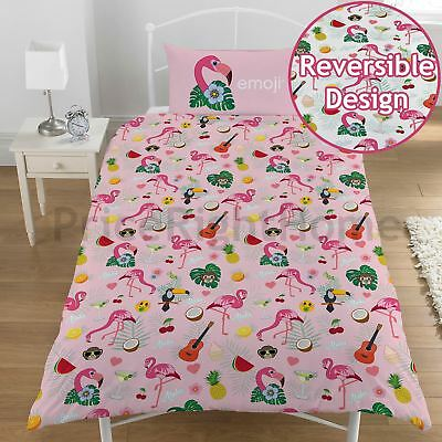 EMOJI FLAMINGO SINGLE DUVET COVER SET REVERSIBLE KIDS GIRLS WHITE / PINK (Pink Flamingo Emoji)