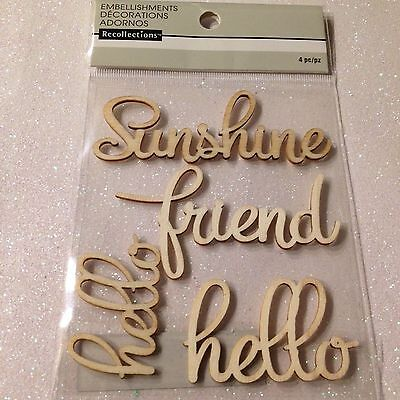 RECOLLECTIONS STICKERS WOOD WORDS EMBELLISHMENTS 3D SUNSHINE FRIEND HELLO - Sunshine Stickers