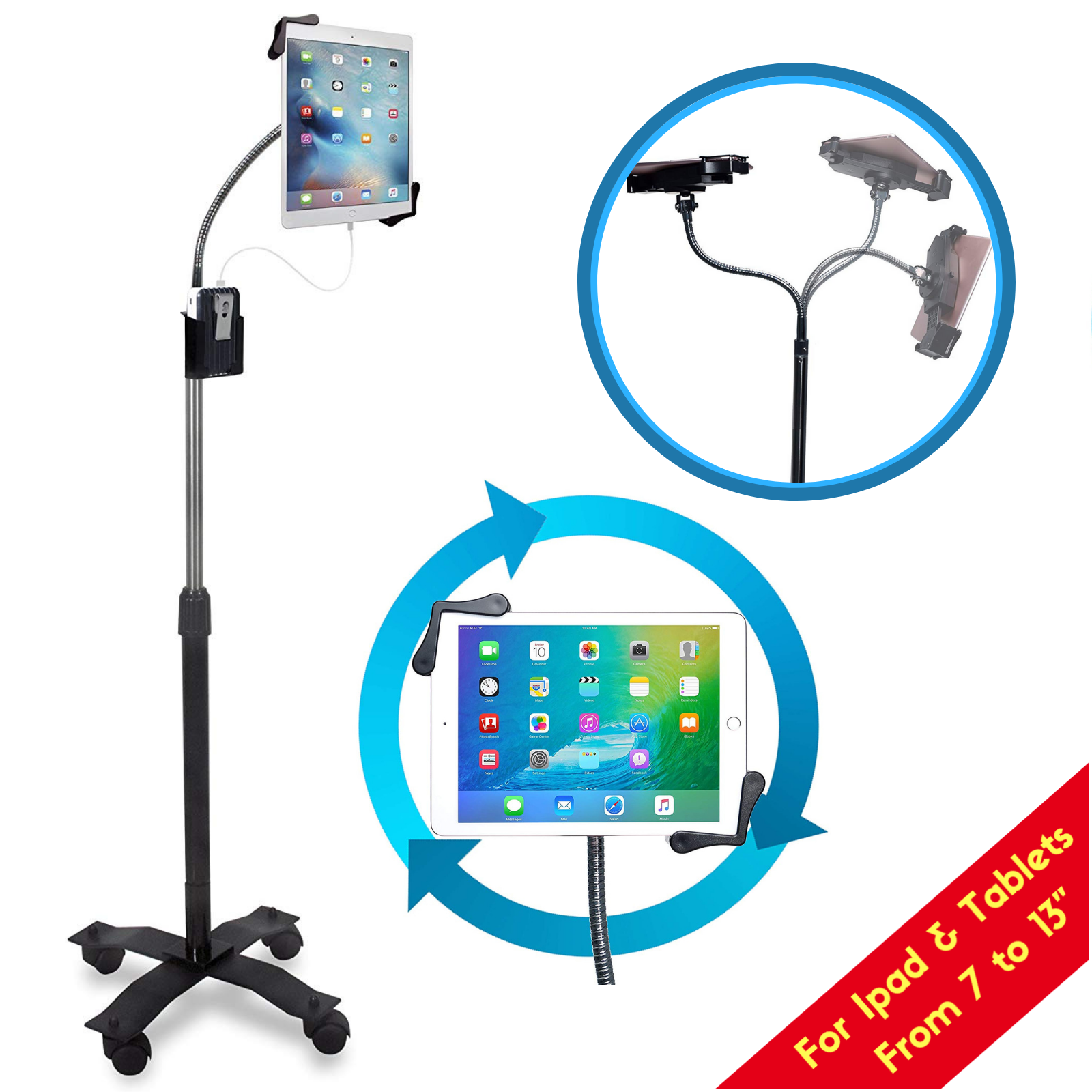 CTA Digital Compact Gooseneck Floor Stand for 7-13 Inch Tabl