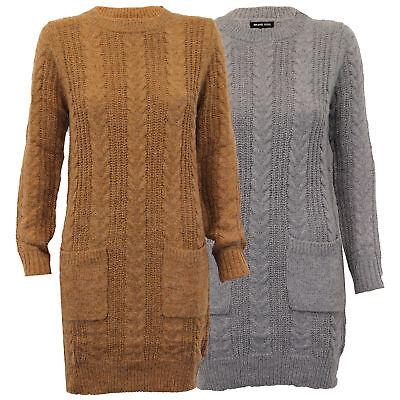 Damen Pullover Brave Soul Damen Lang Kabel Strickkleid Top Sweatshirt Winter Neu - Lange Kabel Pullover