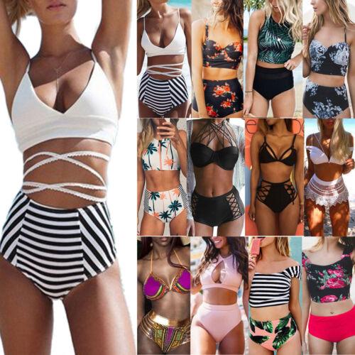 Damen High Waist Badeanzug Tankini Bikini Push Up Zweiteiligen Bandage Badeanzug