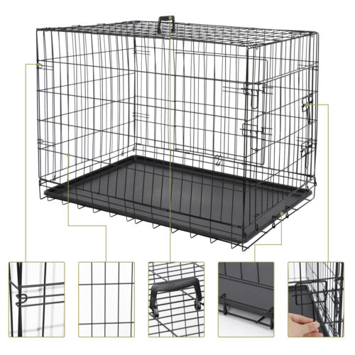 2X 36″ Metal Pets Dog Crate Double Door Folding Metal Dog Crates Fully Equipped Cages & Crates