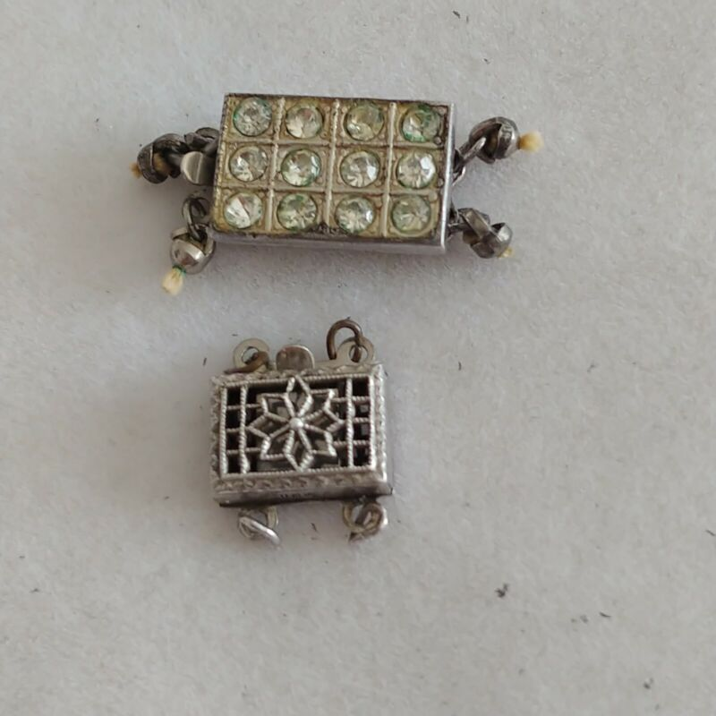 2 Vtg Sterling Silver Necklace Box Clasp Lot Double 2 Strand Used 925