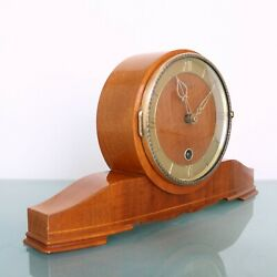 JUBA Mantel TOP Clock HIGH GLOSS! Wood Brass 14 Days! FIXED PENDULUM Rare German