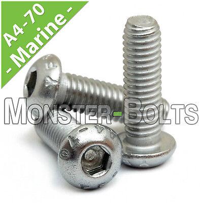 M6 - 1.00  Marine Grade Stainless Steel Button Head Socket Caps Screws A4 / (316 Marine Grade Stainless Steel)