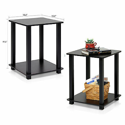 End Table Set 2 Small Side Tables Storage Shelf Wood Living Room Furniture Black
