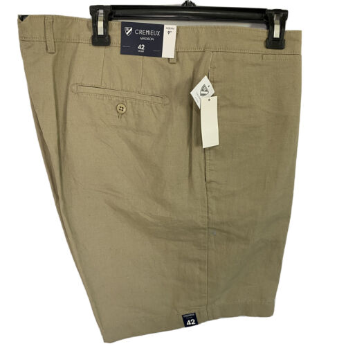 """Cremieux Mens Madison Khaki Chino Linen Blend Shorts 42 Flat Front 9"""" Clothing, Shoes & Accessories"""