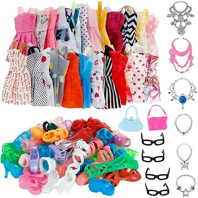32 Pcs Party Clothes And Accessories For Barbie Doll Dress Outfit Glasses Shoes