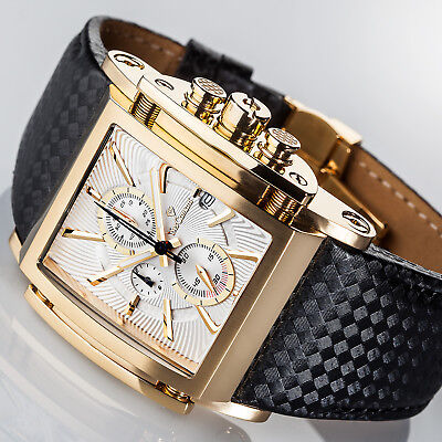 Mens Watches - YVES Camani ESCAUT Mens Watch Gold Plated Chronograph Leather Strap New