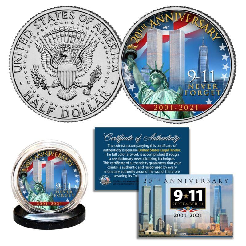 20th ANNIVERSARY 9/11 World Trade Center 2001-2021 Official JFK Half Dollar Coin