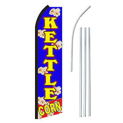 Kettle Corn Banner Flag Pole Only Blu Yel - Advertising Sign Swooper Feather