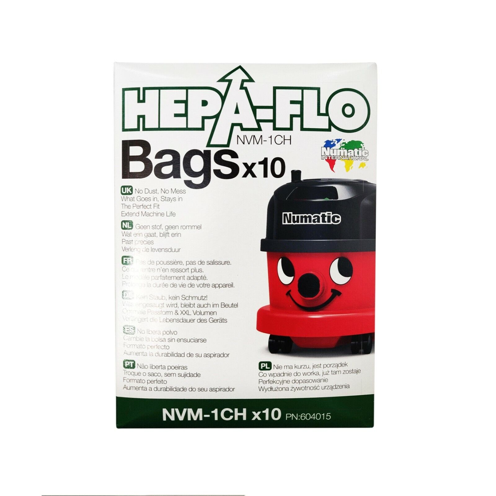 10 X Original Numatic Henry Hetty Hepaflo Aspiradora Hoover Bolsa 604015