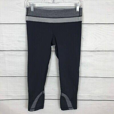 Lululemon Run Inspire Crop II Dark Gray Heathered Coal Size 6 Leggings