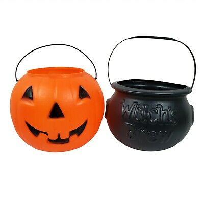 2 Pumpkin Cauldron Candy Pail Blow Mold Buckets Halloween Trick-or-Treat Orange