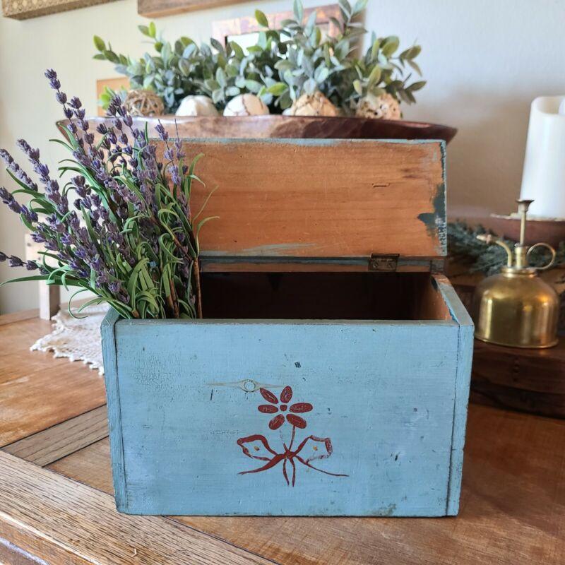 Rare Antique Sewing Wood Box Blue Flowers Original