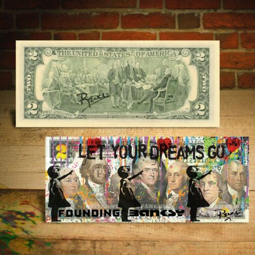 BALLOON GIRL FOUNDING BANKSY Pop Art HAND-SIGNED Genuine $2 Bill Signed by RENCY