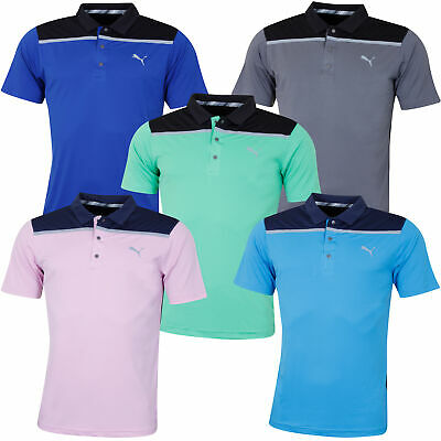 Puma Golf Mens Bonded Colourblock DryCell Wicking UPF40 Polo Shirt 52% OFF RRP