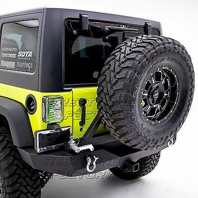Rock Crawler Full Width Rear Bumper+Tire Carrier+Hitch for 07-18 Jeep Wrangler