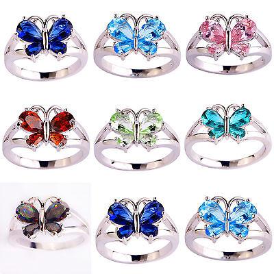 Butterfly Blue Sapphire Garnet Pink Rainbow Green Topaz Gemstone Silver 925 Ring