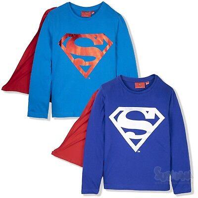 Superman Super Hero Jungen Langarm Pullover T-Shirt mit Cape 2-8 Jahre -