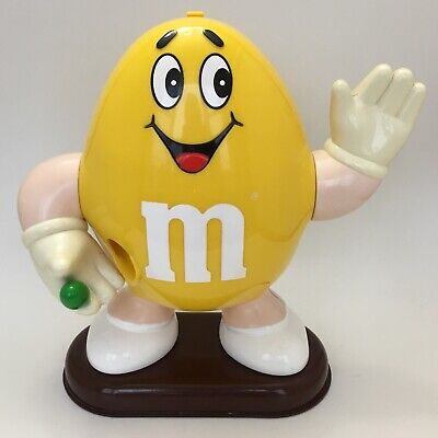 "Vintage 90s Yellow Peanut M&M Character Waving 10"" Tall Candy Dispenser Mars Inc"
