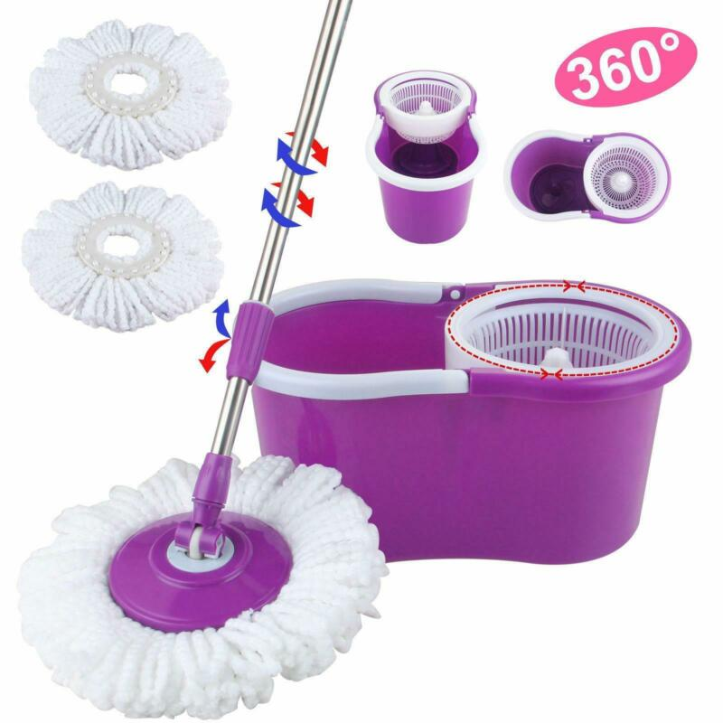 Microfiber Spinning Magic Floor Mop Bucket 2 Heads 360° Rotating Cleanning