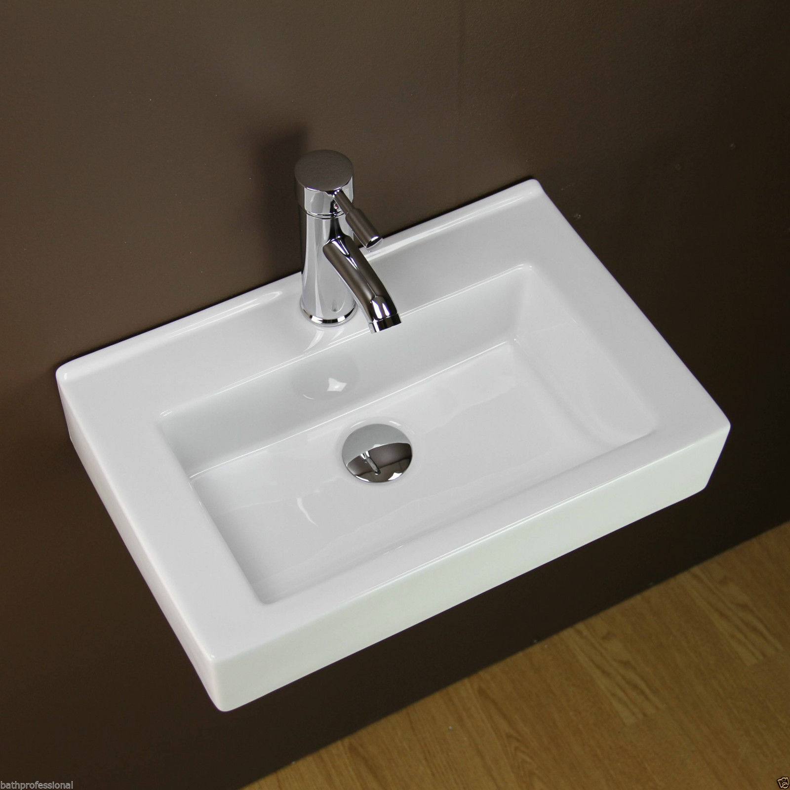 Basin Sink Bathroom Ceramic Wall Hung Mounted Countertop