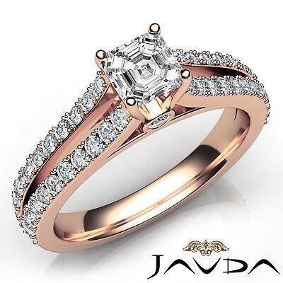 Asscher Shape Diamond Engagement Prong Set Ring GIA Certified F Color VS2 1.15Ct 9