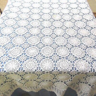 Vintage 100% Cotton Tablecloth Crochet Lace White 56x84 Rectangle