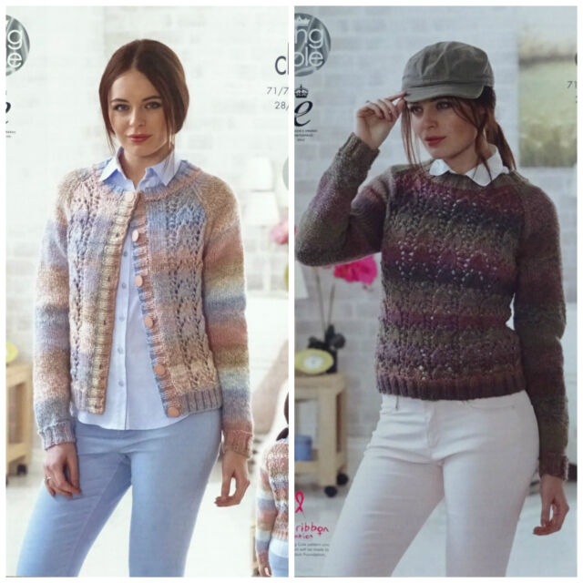 KNITTING PATTERN Ladies Long Sleeve Lacy Cardigan & Jumper Chunky King Cole 4634