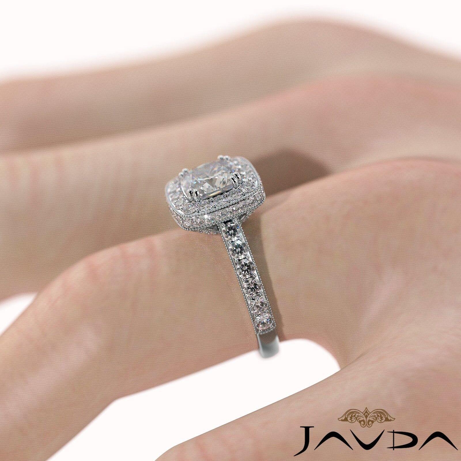 2ctw Milgrain Halo Floral Basket Cushion Diamond Engagement Ring GIA H-VS2 Gold 5