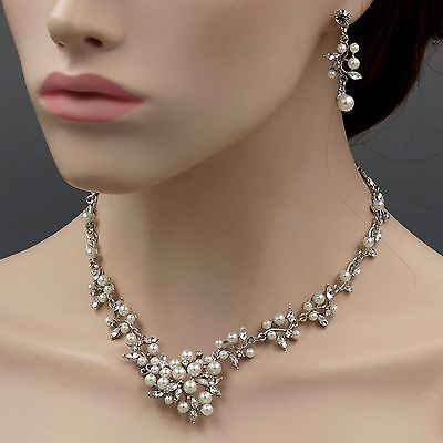 Rhodium Plated Pearl Crystal Necklace Earrings Bridal Wedding Jewelry Set 00744