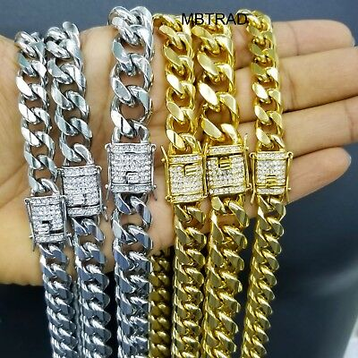 Men's Miami Cuban Link Chain 14k ,Gold Plated Stainless Steel BEST QUALITY (Best Stainless Steel Plates)