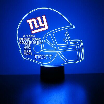 New York Giants NFL Football Personalized FREE Light Up Lamp 3D Illusion LED