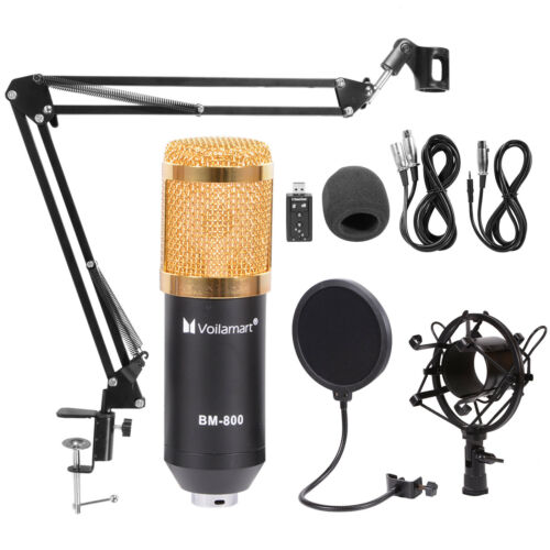 BM800 Condenser Microphone Kit Studio Audio Pop Filter Arm S