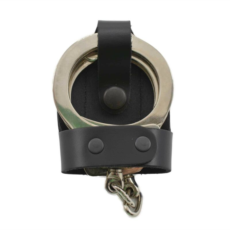 Perfect Fit Leather Bikini Handcuff Case Black Snap Belt Slide Standard Cuffs