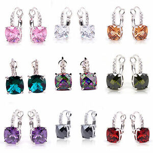 Best-Selling-Amethyst-Morganite-Multi-Color-Gemstone-Dangle-Hook-Silver-Earrings