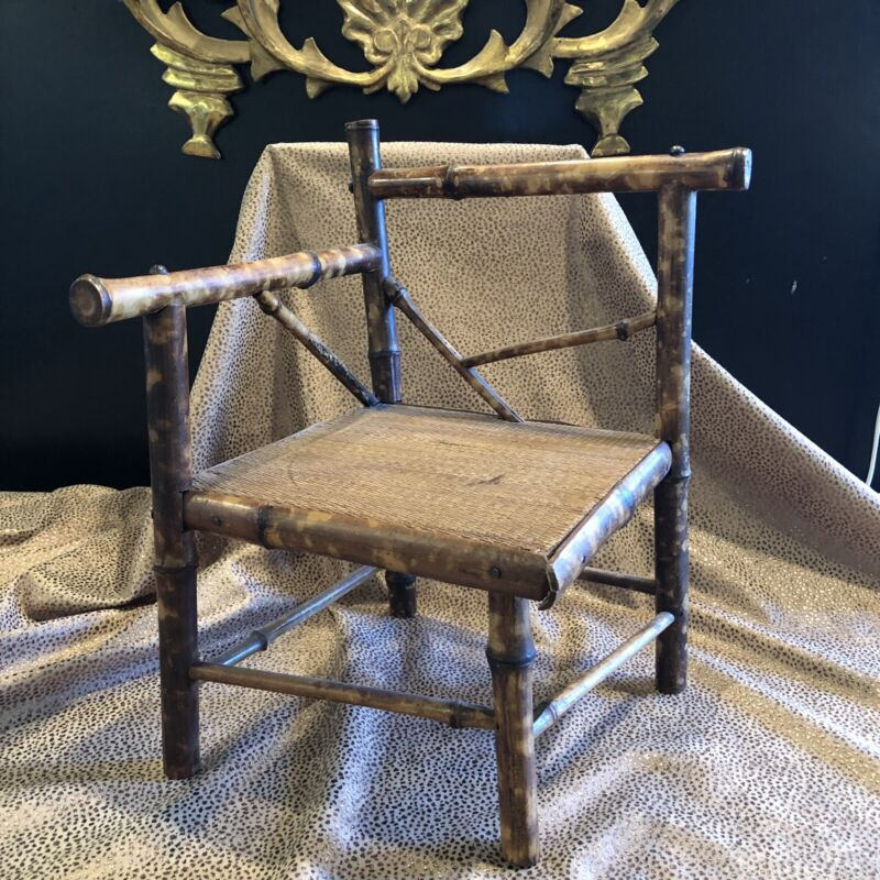 Antique Victorian Chinese Bamboo Childs or Doll Corner Chair